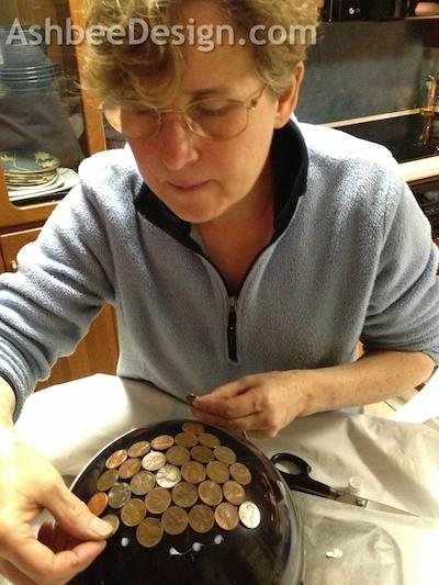 Идея для сада. Монетный шар, мозаика монетами (2) (400x533, 153Kb)
