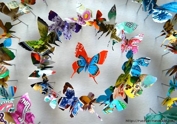 Бумажные бабочки в интерьере. Шаблон бабочки (23) (600x419, 257Kb)