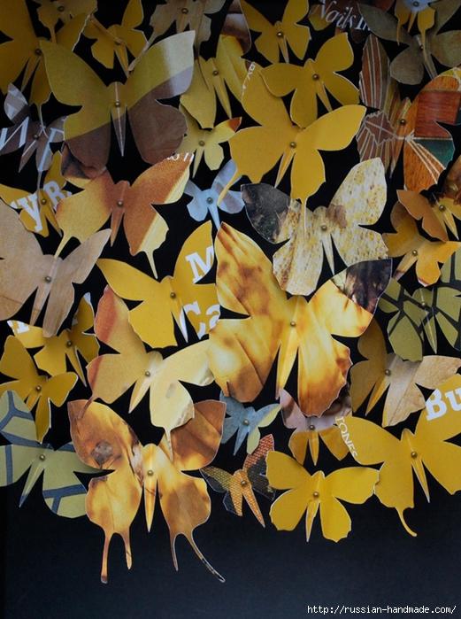 Бумажные бабочки в интерьере. Шаблон бабочки (27) (521x700, 330Kb)