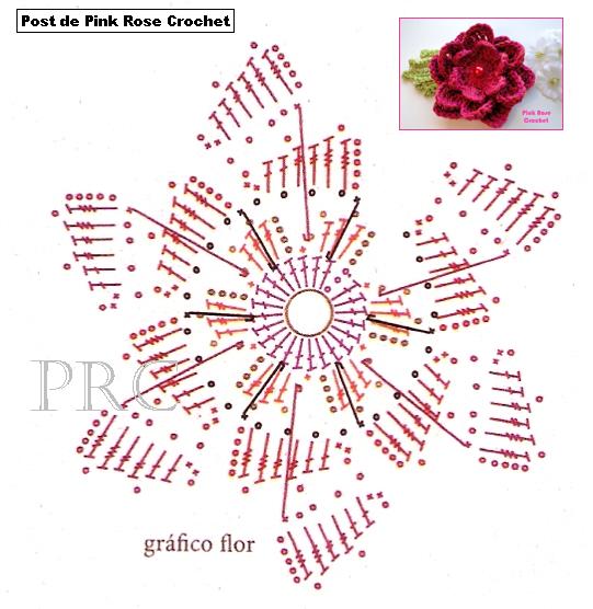 Вязание крючком. Цветочек. Схема (1) (541x556, 289Kb)