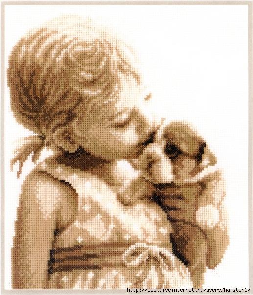 Девочка и щенок вышивка