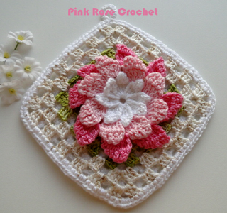 Pega Panelas Flor Rosa Croche Square  Crochet Potholders (320x300, 171Kb)