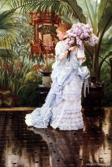 James Tissot - The Bunch of Lilacs (472x700, 323Kb)