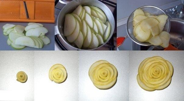 Розы из яблок и теста рецепт с пошагово