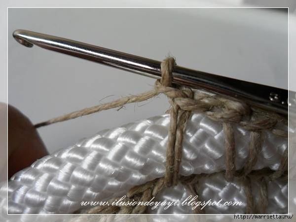 Корзинка из нейлоновой веревки и шпагата. Мастер-класс (15) (600x450, 170Kb)