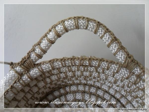Корзинка из нейлоновой веревки и шпагата. Мастер-класс (21) (600x450, 203Kb)