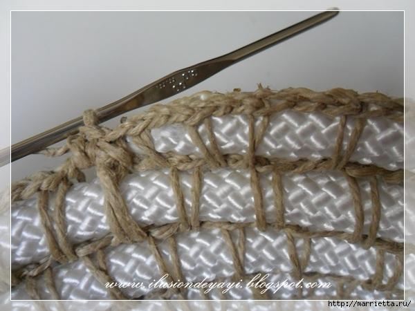 Корзинка из нейлоновой веревки и шпагата. Мастер-класс (25) (600x450, 197Kb)