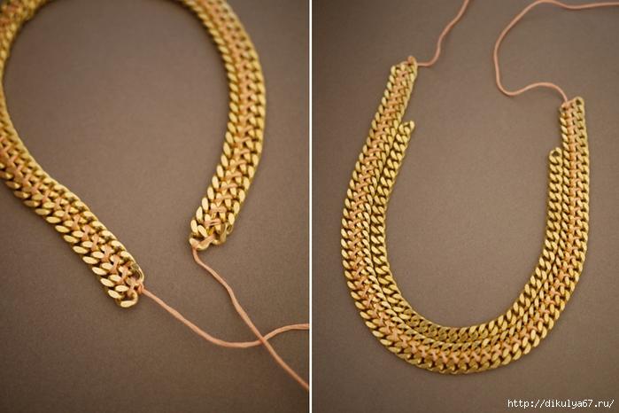 Плетенное ожерелье из цепочек и горного хрусталя - FreshTouch