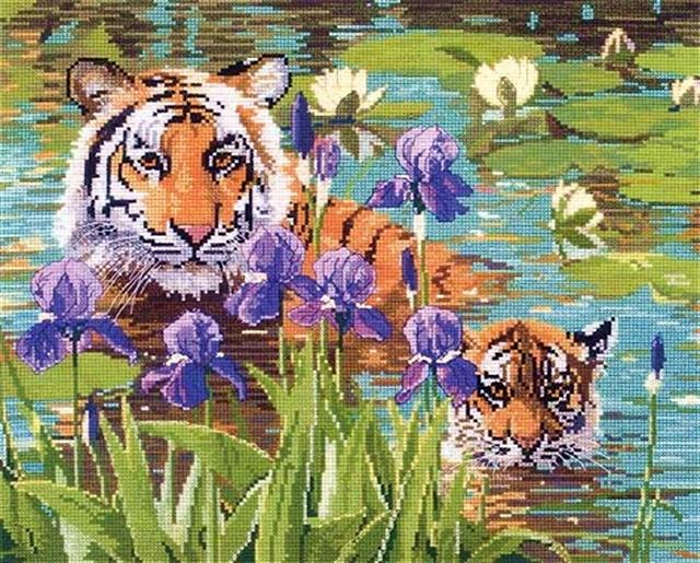 Тигр в цветах картинки 6