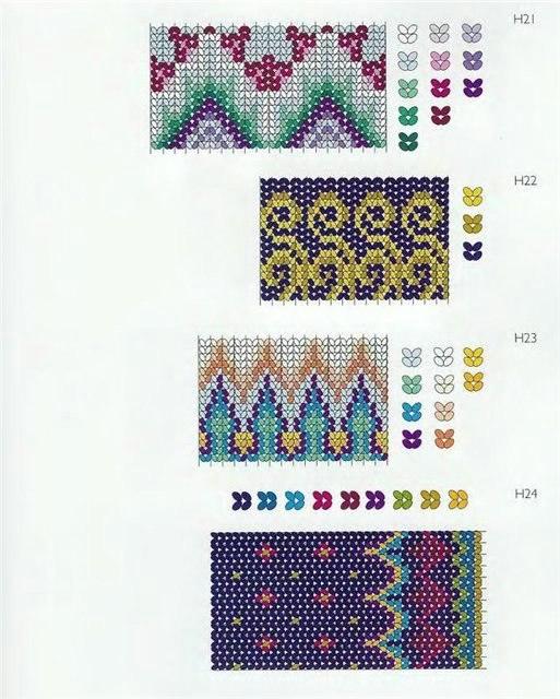 """Схемы ндебеле для браслетов, сумочек, кошелечков из книги  """"A Beader's Reference  """" автор Jane Davis."""