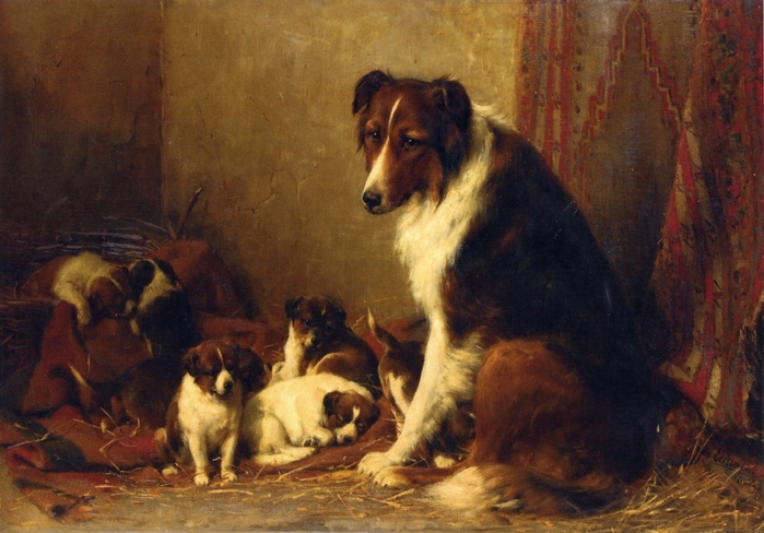 A Collie With Her Puppies (700x488, 267Kb)