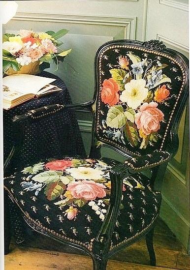 Вышивка для стула в викторианском стиле. Схема (2) (386x549, 211Kb)