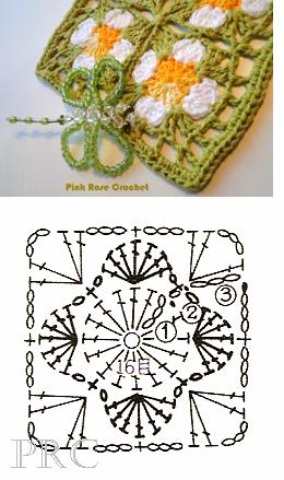 Вязание крючком. Схемы фрагментов для вязания пледов подушек и покрывал (12) (260x439, 156Kb)