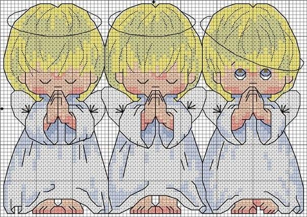 Это вышивка, три ангелочка.  Продам-обменяю комбезы от 0 до 3 лет + бортики. http://forum.krasmama.ru/viewtopic.php...