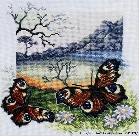 Вышивка: бабочки... пейзажное.