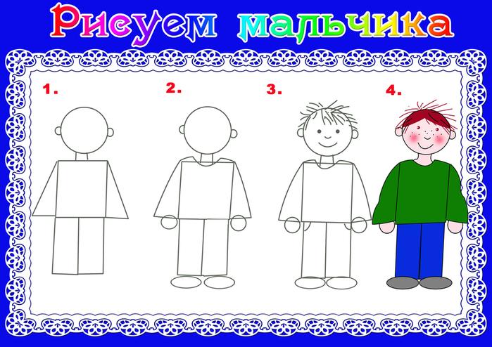 Поэтапный рисунок мальчика и девочки
