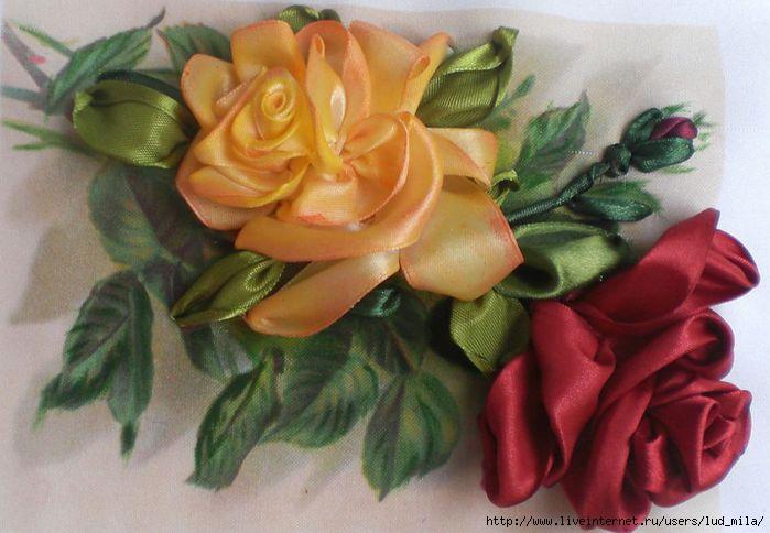 Вышивка лентами розы с листьями от мастера шепилова 13