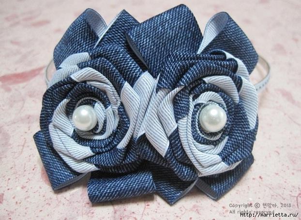 Цветы из киперной ленты, широкой тесьмы, для украшения ободка. Мастер-класс (2) (622x454, 239Kb)
