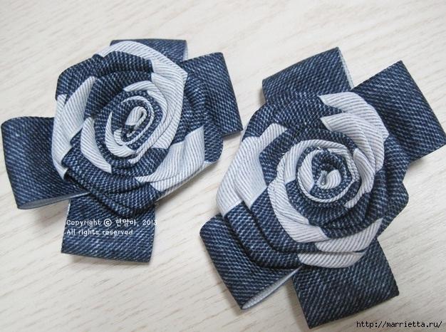 Цветы из киперной ленты, широкой тесьмы, для украшения ободка. Мастер-класс (4) (626x466, 242Kb)