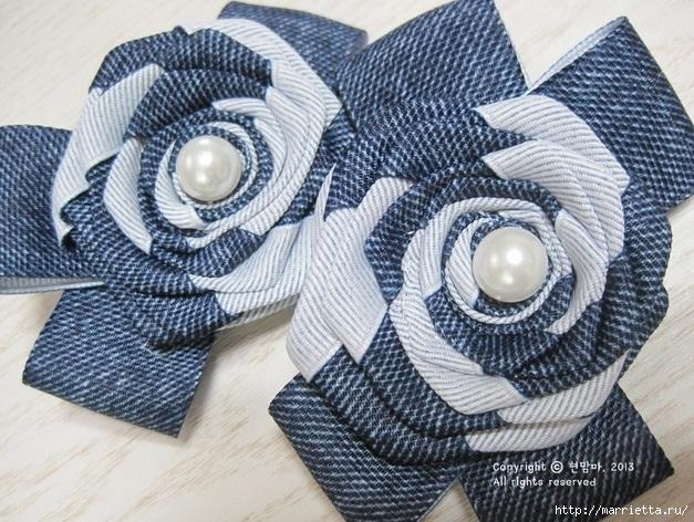 Цветы из киперной ленты, широкой тесьмы, для украшения ободка. Мастер-класс (5) (627x472, 289Kb)