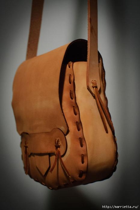Как сшить сумочку из натуральной кожи. Фото мастер-класс и шаблон (8) (466x700, 155Kb)