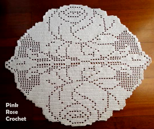 Салфетка с розами крючком тунисским вязанием (3) (540x453, 469Kb)