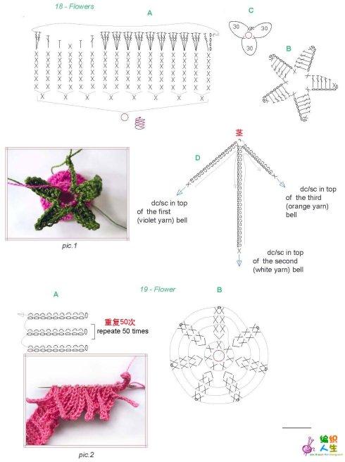 Схемы вязание различных цветов