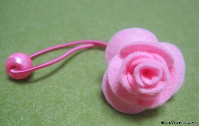 Маленькие розочки из фетра. Украшаем резиночки для маленьких принцесс (15) (657x415, 131Kb)