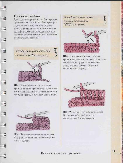 Рельефные столбики: выпуклые и вогнутые столбики крючком.