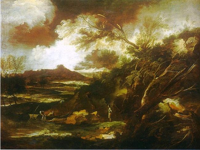'Пейзаж со сценой проповеди Иоанна Крестителя' Марко Риччи