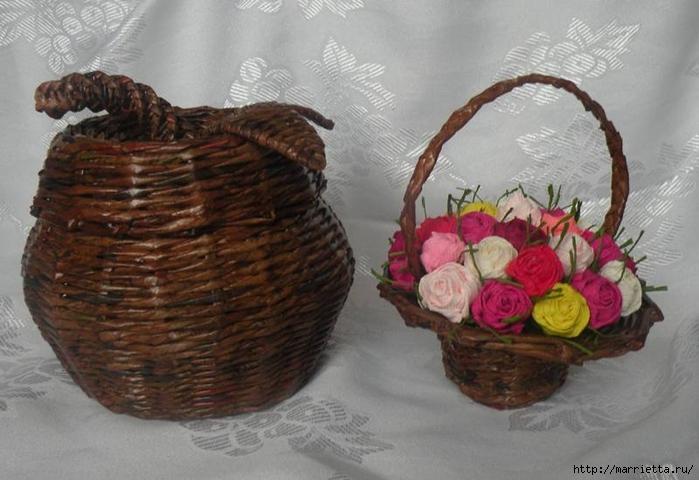 Плетение из газет. Подробный фото мастер-класс по плетению корзинки ЯБЛОЧКА (1) (700x480, 221Kb)
