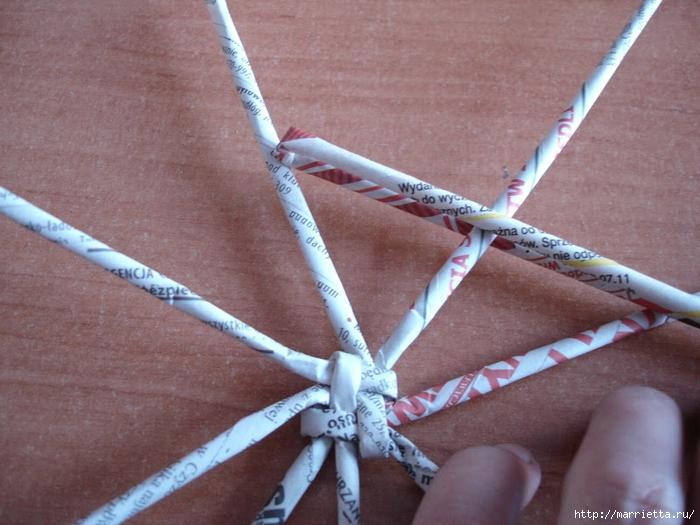 Плетение из газет. Подробный фото мастер-класс по плетению корзинки ЯБЛОЧКА (32) (700x525, 291Kb)