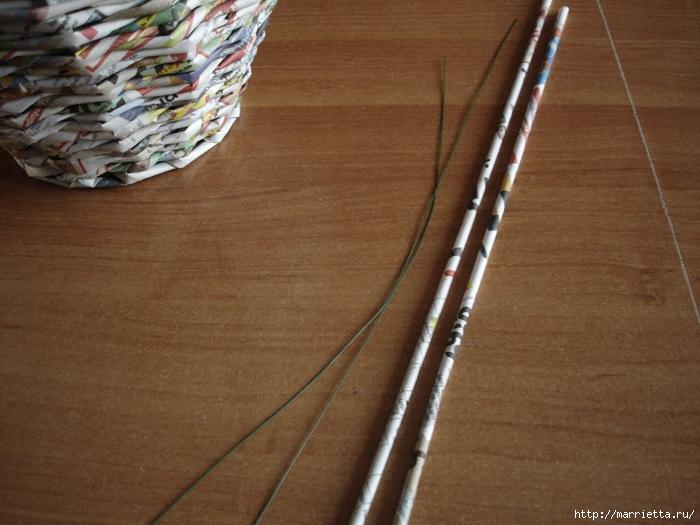 Плетение из газет. Подробный фото мастер-класс по плетению корзинки ЯБЛОЧКА (47) (700x525, 277Kb)