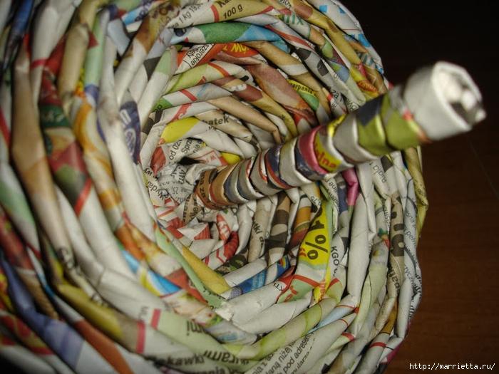 Плетение из газет. Подробный фото мастер-класс по плетению корзинки ЯБЛОЧКА (56) (700x525, 294Kb)