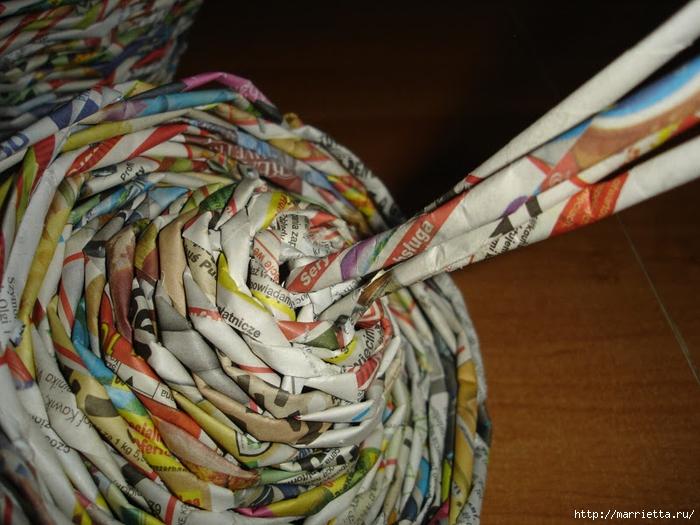 Плетение из газет. Подробный фото мастер-класс по плетению корзинки ЯБЛОЧКА (57) (700x525, 292Kb)