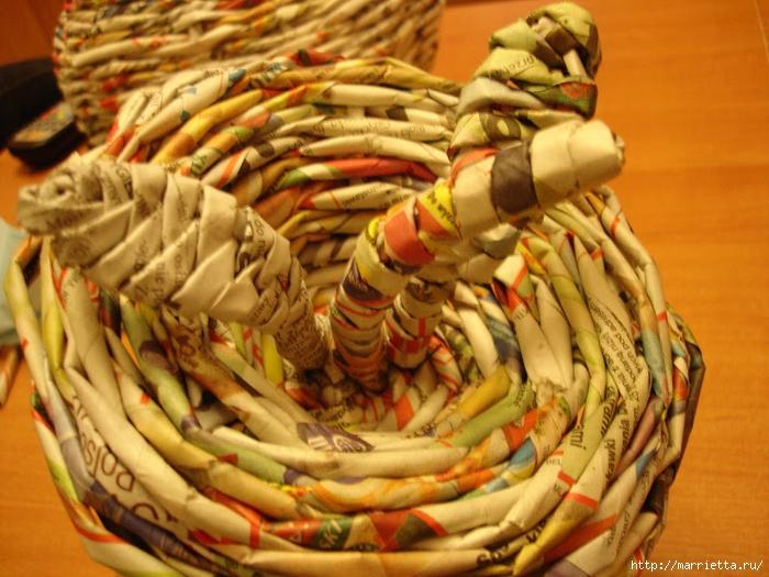 Плетение из газет. Подробный фото мастер-класс по плетению корзинки ЯБЛОЧКА (69) (700x525, 310Kb)