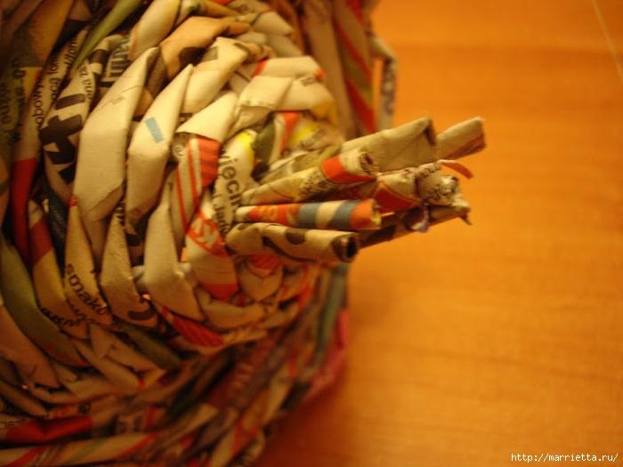 Плетение из газет. Подробный фото мастер-класс по плетению корзинки ЯБЛОЧКА (71) (700x525, 240Kb)