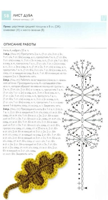 Вязание крючком дубовый лист схема 81
