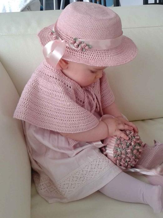 розовая шляпка крючком для девочки (7) (522x700, 219Kb)