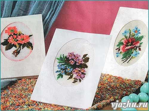 вышивки крестом - цветы