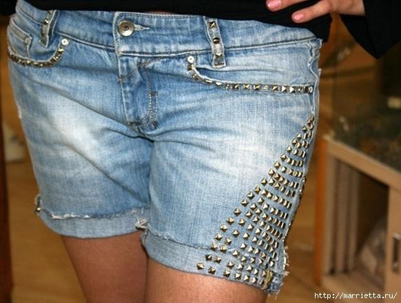 шорты из джинсов, переделка и украшение (1) (582x439, 181Kb)