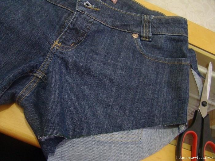 шорты из джинсов, переделка и украшение (13) (700x525, 337Kb)
