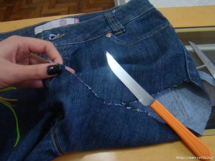 шорты из джинсов, переделка и украшение (15) (700x525, 285Kb)