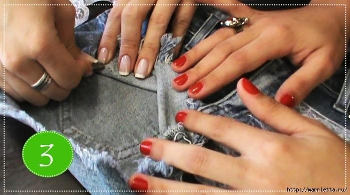 шорты из джинсов, переделка и украшение (25) (700x389, 207Kb)