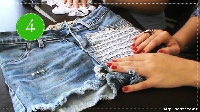 шорты из джинсов, переделка и украшение (38) (700x393, 235Kb)