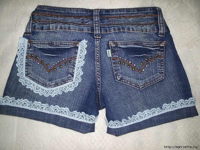 шорты из джинсов, переделка и украшение (42) (700x525, 377Kb)