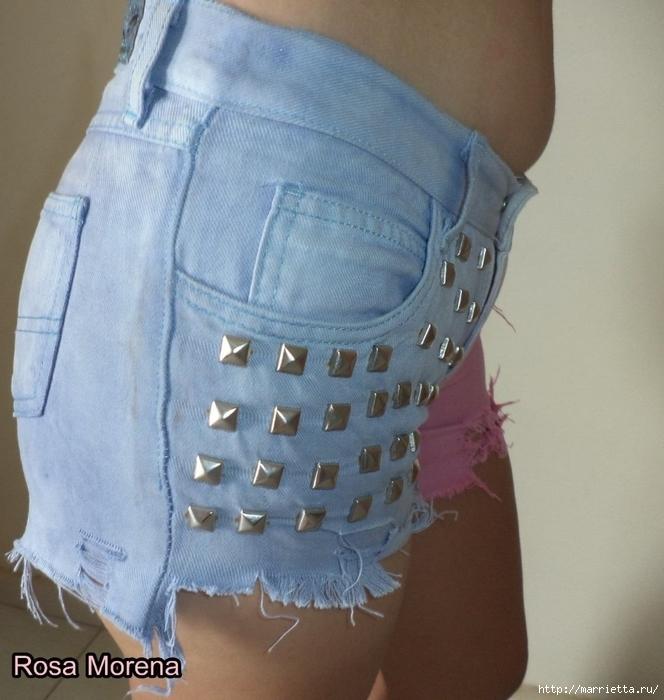 шорты из джинсов, переделка и украшение (47) (664x700, 293Kb)