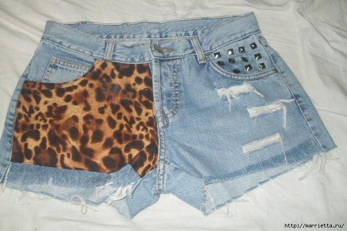 шорты из джинсов, переделка и украшение (49) (700x466, 261Kb)