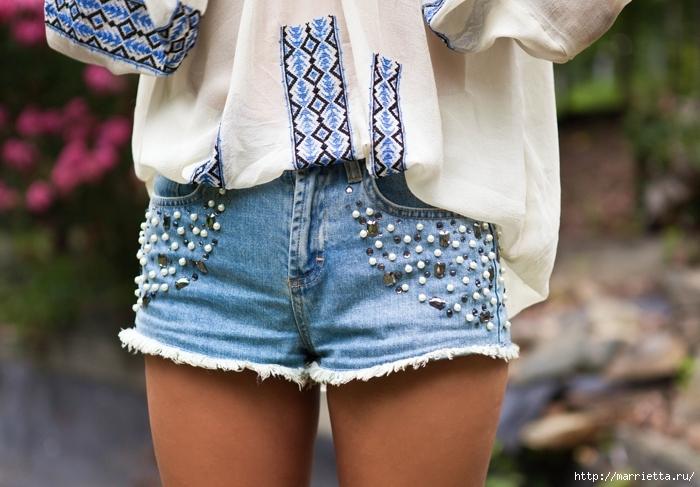 шорты из джинсов, переделка и украшение (52) (700x487, 257Kb)