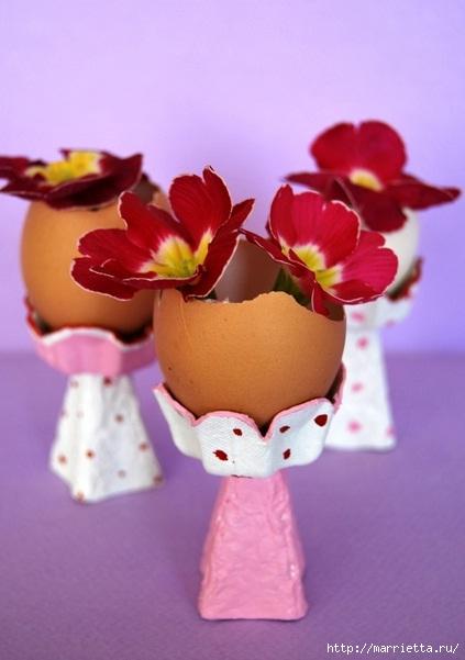 Как сделать цветы из яичных лотков. Много идей (7) (423x601, 120Kb)